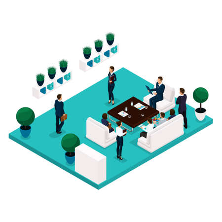 Trend Isometric people communicating concept rear view, large office room, meeting, discussion, brainstorming, business, and business ladies in suits isolated on a light background. Vector illustrations.