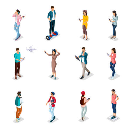 Trendy Isometric people and gadgets, teenagers, young people, students, using hi tech technology, mobile phones, pad, laptops, make selfie, smart watches are isolated. Illustration