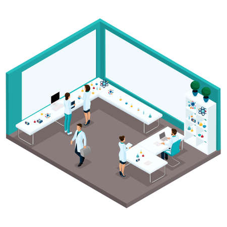 Trendy isometric people, a cabinet rear view of a laboratory, scientists, health care providers, research, experiments, analyzes, laboratory workers are isolated on a light background.