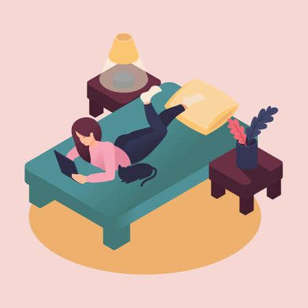 Jeune femme isométrique étudiant à la maison, allongée sur le lit avec tablette, prenant soin d'un animal de compagnie. Illustration vectorielle de couleur dans un style plat.