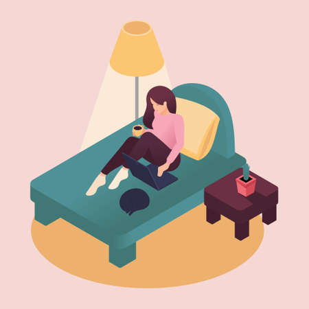 Isometric young woman working at home sitting on bed with laptop taking care of pet. Color vector illustration in flat style. Ilustracje wektorowe