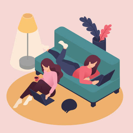 Isometric girlfriend spend a weekend together, correspond in social networks. Great concept for a Landing page. 向量圖像