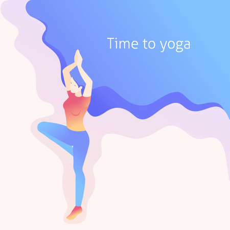Isometric young woman doing yoga, tree pose, pose, asana. Great concept for a Website Template Landing page, web design.