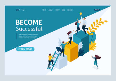 Website Template Landing page Isometric concept young entrepreneurs, start up project, successful business, ladder to success. Easy to edit and customize.