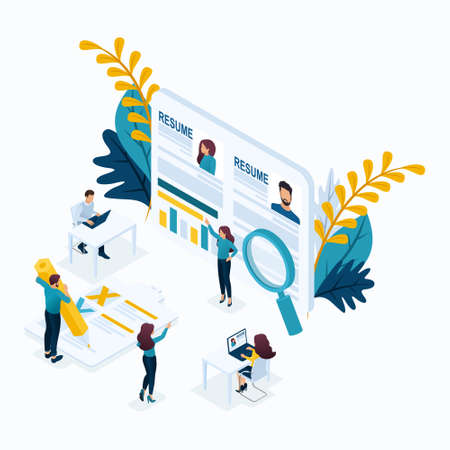 Isometric business concept, resume, recruiting, head hunters, HR manager. Modern vector illustration concept website. Stock Illustratie