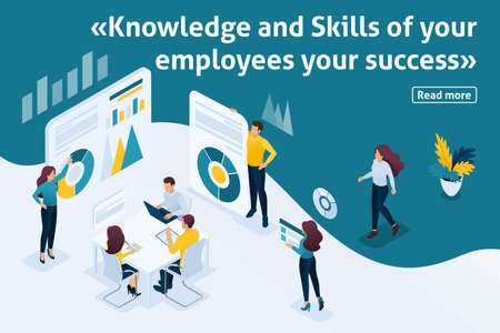 Template design article banner, Isometry the concept Knowledge and Skills of your employees. Easy to edit and customize.