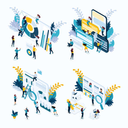 Isometric set business concept, resume, recruiting, data collection, marketing research, customer Reviews and comments. Modern vector illustration concept website.