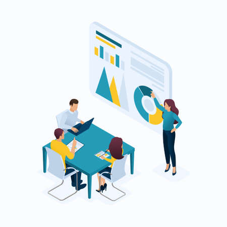 Isometric concept young entrepreneurs in office, managers, head hunters, agents, HR, workflow. Modern vector illustration concepts for website.