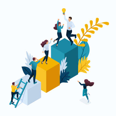 Isometric concept young entrepreneurs in office, start up project, successful business, ladder to success. Modern vector illustration concepts for website. Illustration