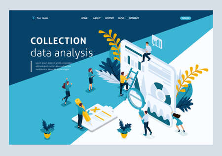 Website Template Landing page Isometric concept young entrepreneurs, data collection, data analysis. Easy to edit and customize.