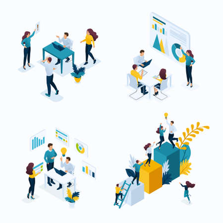 Isometric Set concept templates for business solutions, startup, planning and strategy. Modern vector illustration concepts for website. Ilustrace
