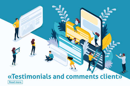 Template design article banner, Isometry the concept Testimonials and comments client, start up development. Easy to edit and customize. Illustration