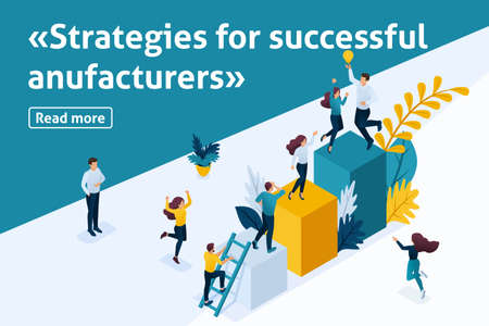 Template design article banner, Isometry the concept of the strategy of growth of entrepreneurs, start up development. Easy to edit and customize. Vettoriali