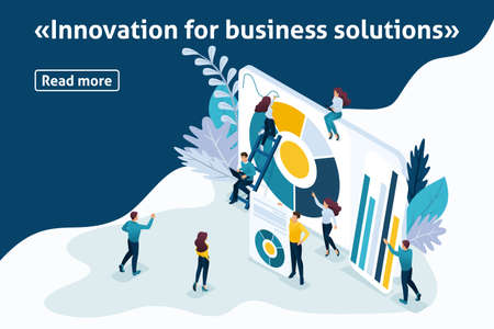 Template design article banner, Isometry the concept Innovation for business solutions. Easy to edit and customize. Vettoriali