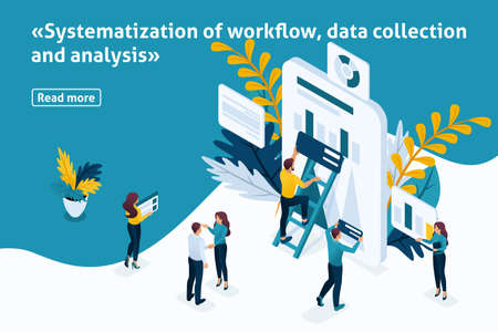 Template design article banner, Isometry concept Systematization of workflow, data collection and analysis. Easy to edit and customize. Ilustração