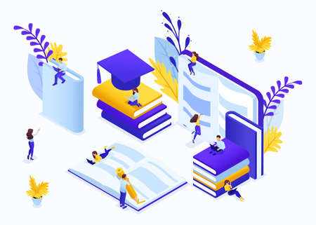 Website Template Landing page Isometric concept e-learning for second higher education, self-study, advanced training. Easy to edit and customize.