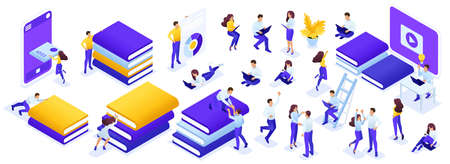 Isometric a large set of people and books to create their own illustration on the topic of learning. Easy to use and edit.