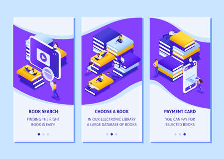 Isometric Template app design concept choose the right your book in our library smartphone apps. Easy to edit and customize.
