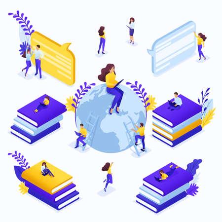 Recherche de concept isométrique pour les meilleurs cours en ligne. Communication des étudiants et des enseignants via Internet. Concept pour une page de destination.