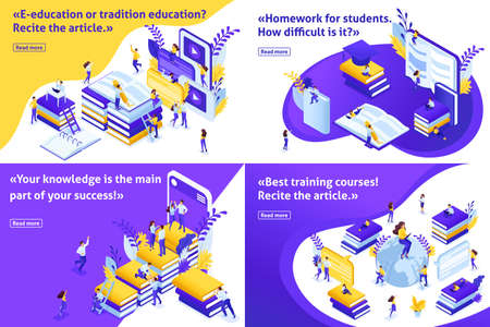 Set Isometric concept e-education or tradition education, students around the world to receive free and paid education. Easy to edit and customize. Ilustração