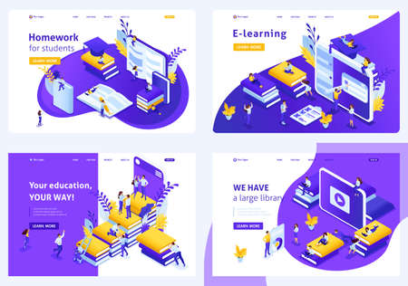 Set Isometric concept Template design e-learning students, second education, learning foreign languages, more specializations. Easy to edit and customize.