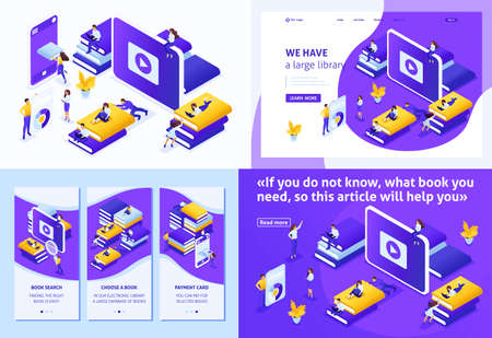 Set Template design article, Landing page, app design, Isometric concept choose the right your book in our library for your E-learning, education. Illustration