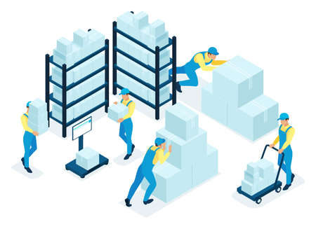 Isometric concept in stock, warehouse staff distribute boxes, delivery service. Concept for web design.