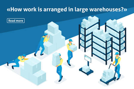 Template article banner, Isometric concept workflow in an industrial enterprise. Illustration