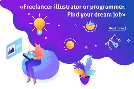 Template design article banner, Isometric girl designer works, draws, dreams, creates design. Freelancer illustrator.
