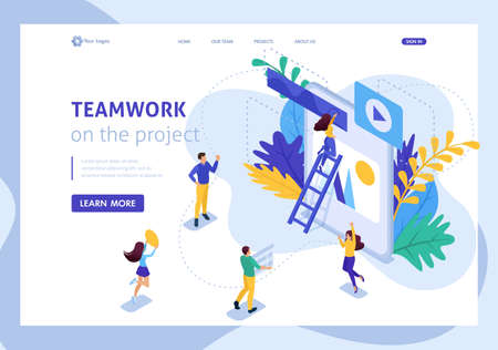 Isometric concept workflow and teamwork of a big team on a project. Website Template Landing page.