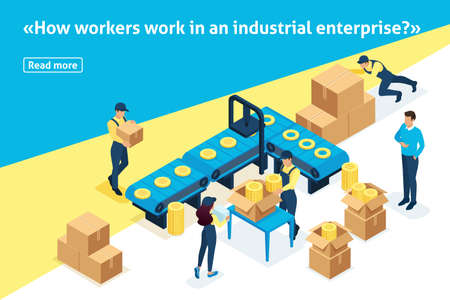 Template article banner, Isometric concept workflow in large warehouses. Stock Illustratie