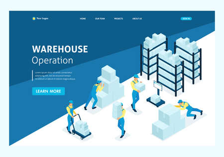 Isometric concept workflow in an industrial enterprise. Website Template Landing page.