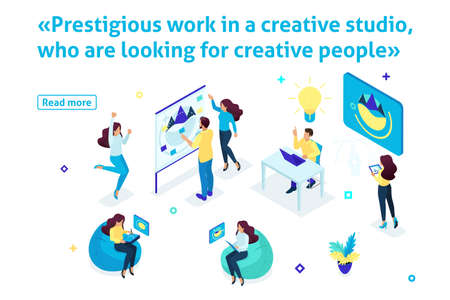 Template article banner, Isometric creating ideas, Prestigious work in a creative studio, who are looking for creative people.