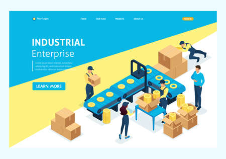 Isometric concept workflow in large warehouses. Website Template Landing page. Иллюстрация