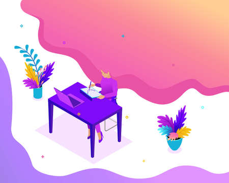 Isometric Bright concept Freelancer works remotely. Place an order and get paid. Concept for web design.