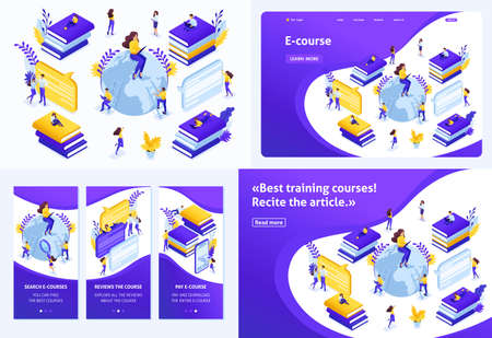 Set Template design article, Landing page, app design, Isometric concept for search for the best e-courses, online learning process. Ilustração