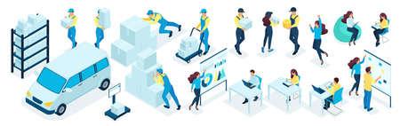 Conjunto isométrico de empresarios, personal de oficina en el proceso. Personal de almacén, servicio de entrega. Gran conjunto de ilustraciones vectoriales.