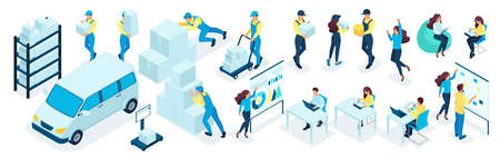 Ensemble isométrique d'hommes d'affaires, personnel de bureau dans le processus. Personnel d'entrepôt, service de livraison. Grand ensemble d'illustrations vectorielles.