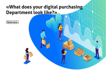 Isometric Bright Template banner article concept of digital procurement, marketing research, teamwork.. Analytics of company information. Illustration