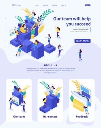 Modèle de site Web isométrique Landing page concept concept échelle de carrière pour les femmes, succès dans les grandes entreprises. La femme d'affaires réussit. 3D adaptative.