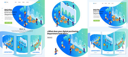 Set Template design article, Landing page, app design, Isometric concept concept of digital procurement, marketing research, teamwork. Adaptive 3D.