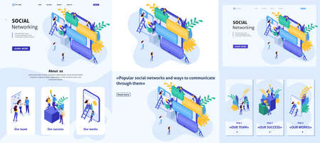 Set Template design article, Landing page, app design, Isometric concept communication of young people in social networks, sending messages and photos. 向量圖像