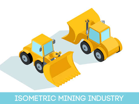 Isometric 3D mining industry icons set 7 image of mining equipment and vehicles isolated on a light background vector illustration.