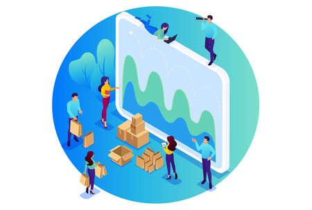 Isometric Bright concept site concept of digital procurement, marketing research, teamwork. Concept for web design. Illustration
