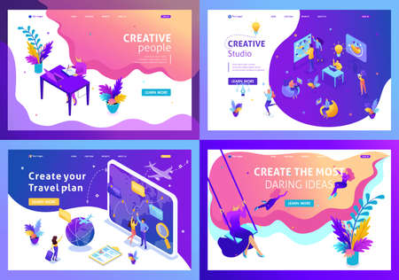 Set colorful Isometric concept girl freelancer, creative people, vacation plan, tour, creative studio. Easy to edit and customize.