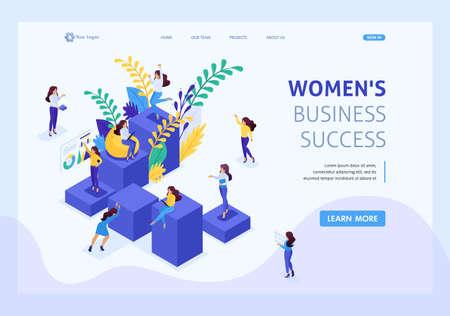 Échelle de carrière concept isométrique pour les femmes, succès dans les grandes entreprises. La femme d'affaires réussit. Page de destination du modèle de site Web. Vecteurs