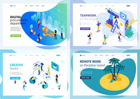 Set colorful Isometric concept creative studio, cooperation Teamwork, digital procurement department, remote work. Easy to edit and customize.  イラスト・ベクター素材