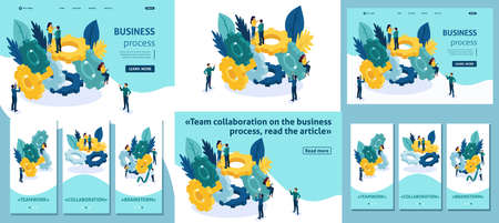 Set Template article, Landing page, app design, Isometric concept Teamwork, brainstorming, Team collaboration on the business process. Adaptive 3D. Vettoriali