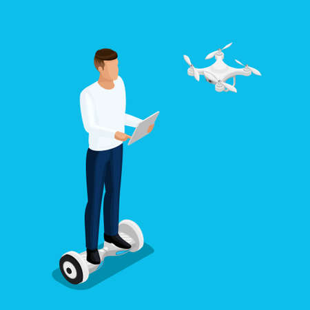 Isometric drone people, a man playing a game, quadrocopter 3D, fly on the radio. Drone camera for filming. Vector illustration.