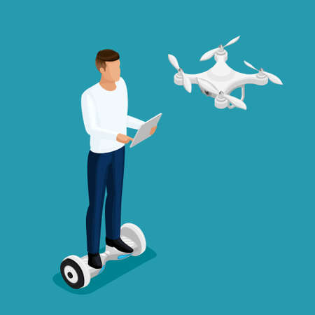 Isometric drone people, a man playing a game, quadrocopter 3D, fly on the radio. Drone camera for filming illustration.